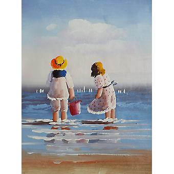 Children on the beach, oil painting on canvas, 30x40 cm