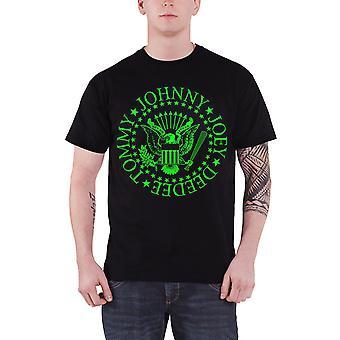 Ramones T Shirt presidential seal Green Fill Band Logo new Official Mens Black