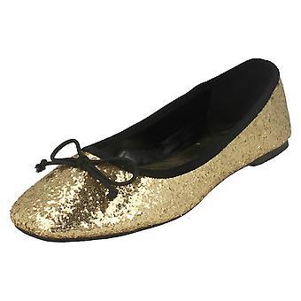 Senhoras estrela bailarina Glitter plana / Square Toe / curvar Vamp