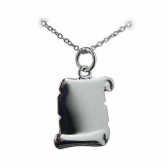 Silver 17x14mm plain Scroll Pendant with a rolo Chain 20 inches