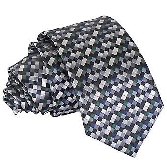 Silver with Black, Green and Navy Chequered Geometric Slim Tie