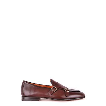 Santoni Mcnc16055la3eglvb52 Men's Brown Leather Monk Strap Shoes