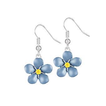 Ewige Sammlung Vergissmeinnicht blauer Emaille Silberfarbe Tropfen Ohrhänger