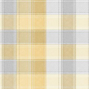Country Tartan Check Yellow Grey Wallpaper Plaid Chequered Checked Arthouse