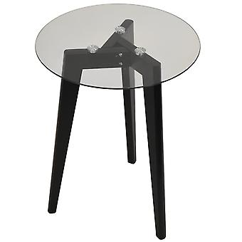 Luna - Retro massief houten statief been en ronde glas einde / Side Table - Black / Clear