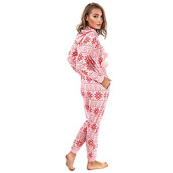 Womens Brave Soul Onesie impression du flocon de neige en rose