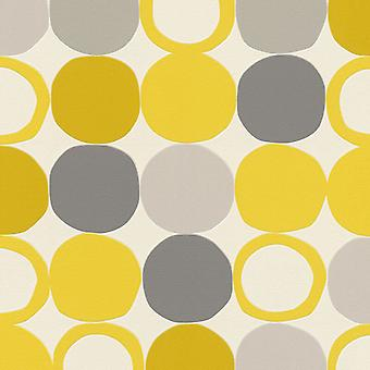 Spots Circles Yellow Grey Retro Wallpaper Textured Vinyl Paste Wall Washable