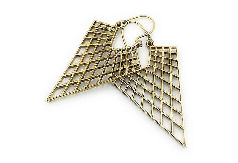 Avery and May Handmade Triangular Filigree Honeycomb Earrings for Women