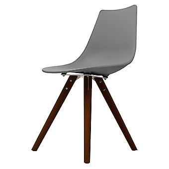 Fusion Living Iconic Mid Grey Plastic Dining Chair With Dark Wood Legs