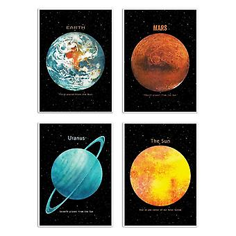 4 Art-Posters 20 x 30 cm - Pack 4 planets - Terry Fan 20 x 30 cm