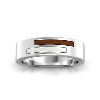 Lehigh University Sterling Silver Asymmetric Enamel Ring In Brown and White