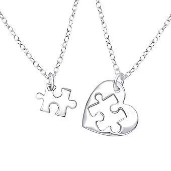 Heart Puzzle - 925 Sterling Silver Plain Necklaces - W36226x