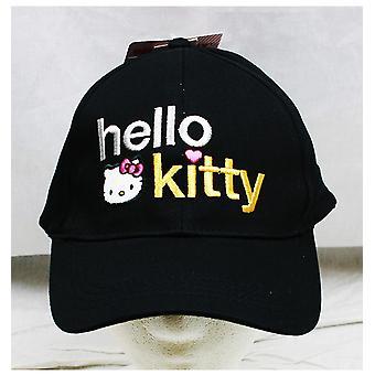 Baseballová Čapka-Ahoj kočičko-černé textové logo (mládež/děti) nový klobouk hek2554