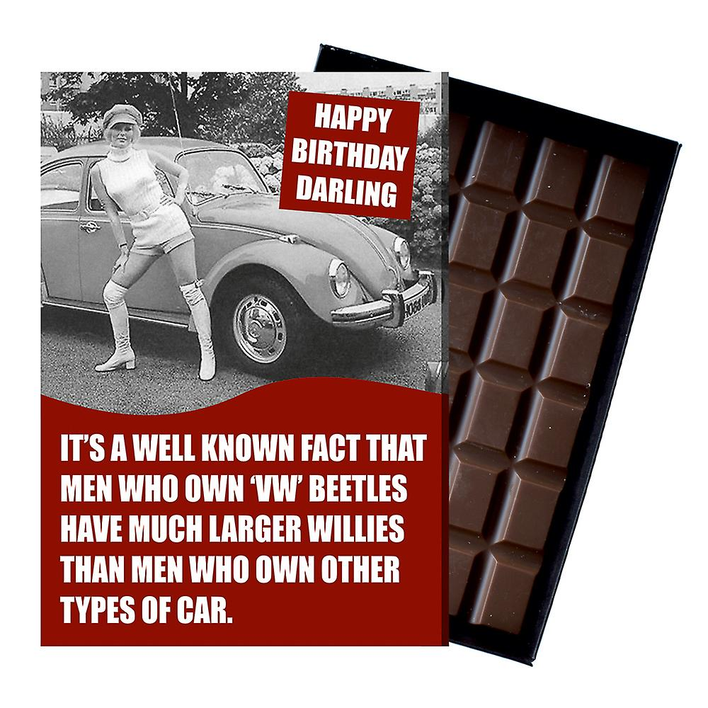 Funny Birthday Gift for Volkeswagen VW Beetle Owner Classic Car Chocolate Greeting Card CDL227
