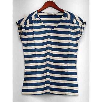 Denim & Co. Top perfect Jersey verlengde mouw gestreept denim blauw/wit
