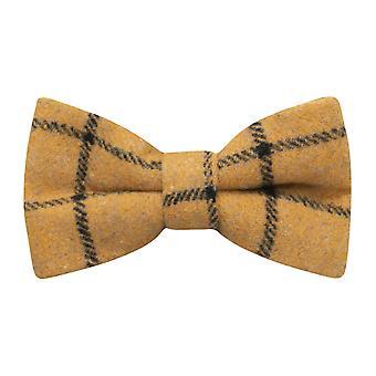 Honey Brown Birdseye Check Bow Tie