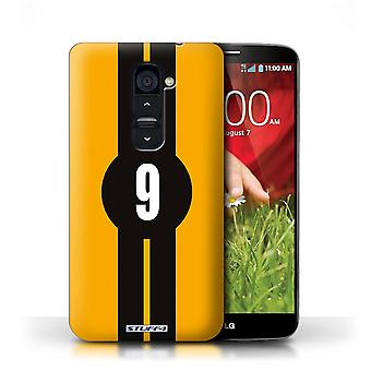 STUFF4 Case/Cover for LG G2/Ford/Yellow/Racing Car Stripes