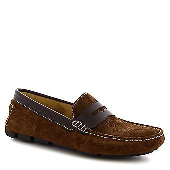 Leonardo Shoes Men-apos;s slip-on driving loafers en cuir de daim brun foncé