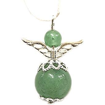Handmade Hanging Semi-precious Adventurine Gemstone Guardian Angel in Silver Plated by Nyleve Designs