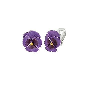 Ewige Sammlung Stiefmütterchen Perfektion lila Emaille Silber Ton Blume Ohrstecker Clip auf Ohrringe
