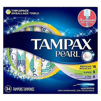 Tampax pearl tampons, mix, unscented, 34 ea