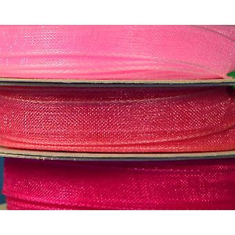 3 Pack 7mm breite Pinks koordinieren Organza Band Set für Handwerk
