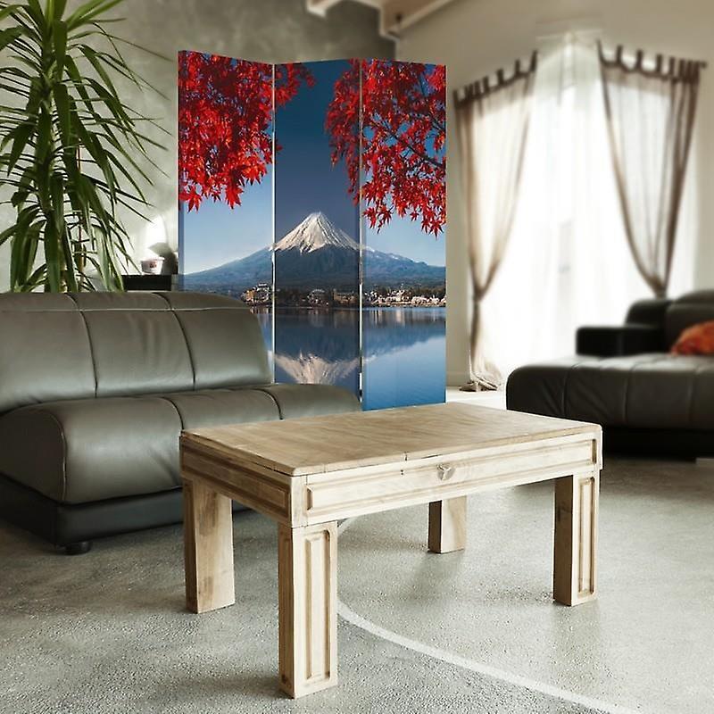 Diviseur de chambre, 3 panneaux, double-face, toile, vue du mont Fuji
