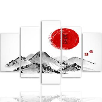 Five Part Picture On Canvas, Pentaptych, Type A, Landscape Japan 3