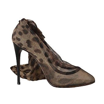 Brown Leopard Tulle Pumps Boots