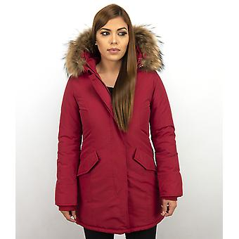Parka Coat - With Fur Collar - Red