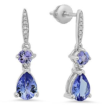 Dazzlingrock Collection Round & Pear Tanzanite & Round White Diamond Ladies Dangling Drop Earrings, Sterling Silver