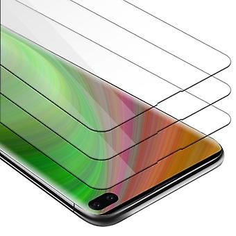 Cadorabo 3x Tank Foil for Samsung Galaxy S10 PLUS - Protective Film in KRISTALL KLAR - 3 Pack Tempered Display Protective Glass in 9H Hardness with 3D Touch Compatibility