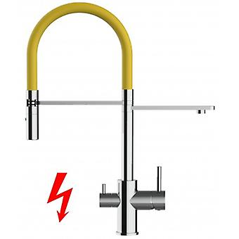 Niederdruck - For German Market Only! 3 Way Filter Kitchen Mixer With Movable Spout And 2 Jet Spray - Yellow - 410