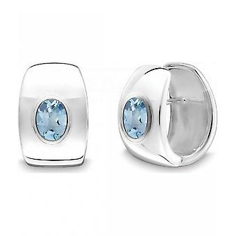 QUINN - Hoop earrings (pair) - women - silver 925 - gemstone - blue topas - 36864958