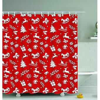 Red Background Christmas Pattern Shower Curtain