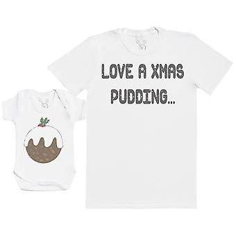 Love A Christmas Pudding Matching Father Baby Gift Set - Mens T Shirt & Baby Bodysuit
