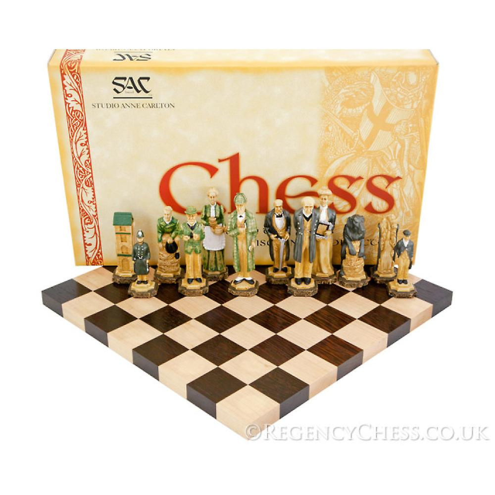 Sherlock Holmes Hand Painted Solid Wenge Chess Set