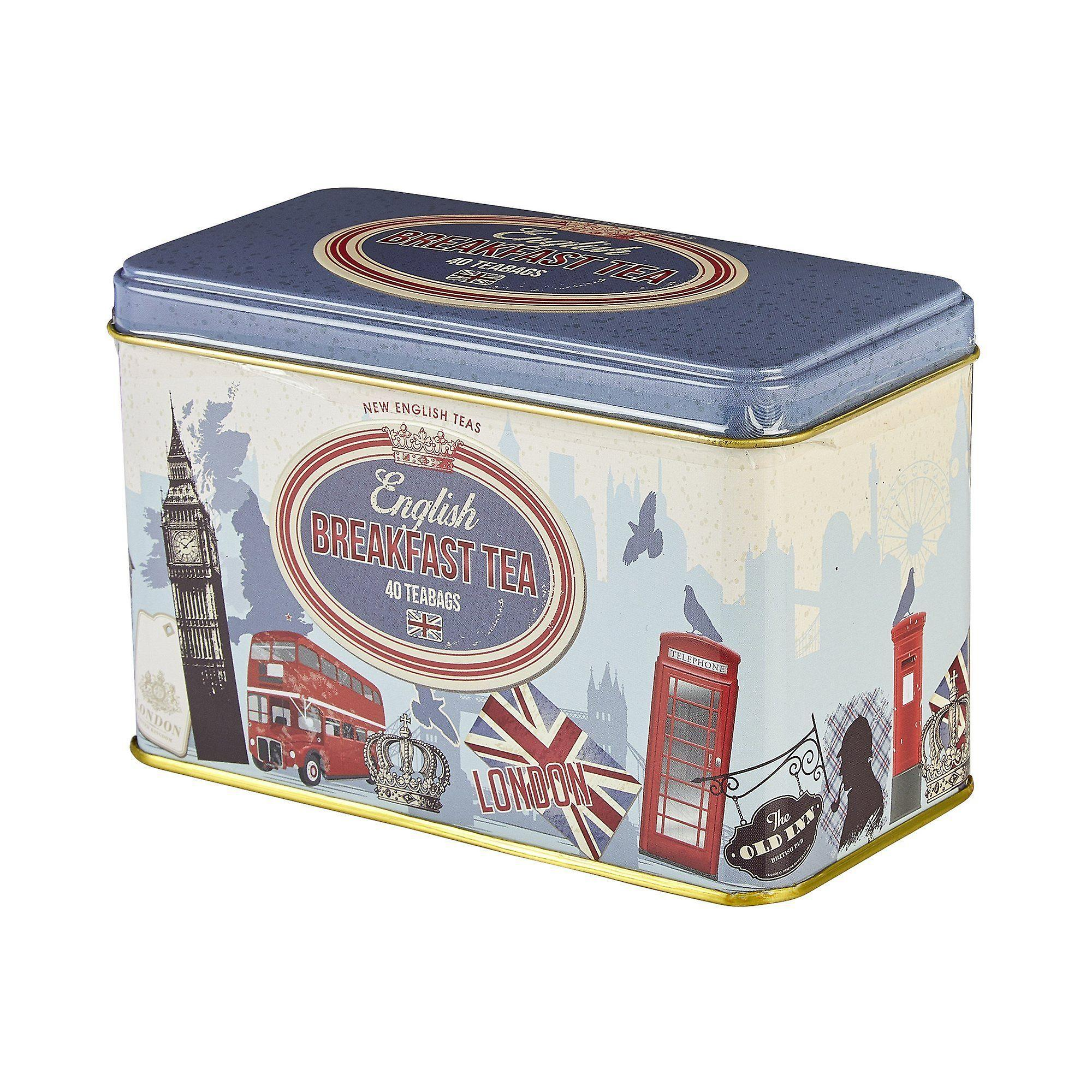 Retro london english breakfast tea tin 40 teabags