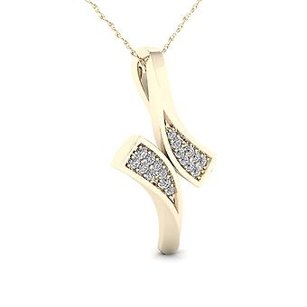 Igi certified 10k yellow gold 0.05ct tdw diamondbypass style pendant necklace