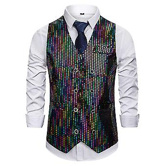 Allthemen Men 's Casual Gorgeous V-neck Double-breasted Multicolor Sequined Suit Vest Allthemen Men 's Casual Gorgeous V-neck Double-breasted Multicolor Sequined Suit Vest