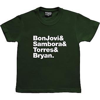 Bon Jovi Line-Up Racing Green Kids' T-Shirt