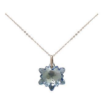Gemshine keten Edelweiss hanger 925 zilver, verguld, Rose SWAROVSKI elementen