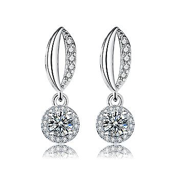 Halo Eye Shape Drop 925 Sterling Silver Earrings