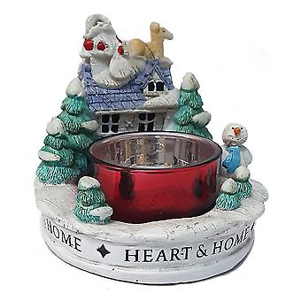 Heart & Home Christmas Night Resin Tealight Holder