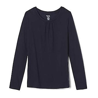 French Toast Girls' Big Long Sleeve Crewneck Tee, Navy, M, Navy, Size M (7/8)