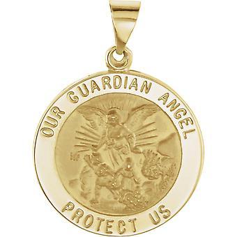 14 k Gelbgold 22mm poliert Runde hohle Schutzengel Medaille Anhänger Halskette Schmuck Geschenke für Frauen