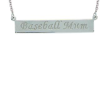 925 Sterling Silver Rhodium Plated Baseball Mom Bar Necklace 18 Inch Jewelry Gifts for Women