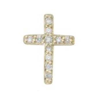 925 Sterling Argent 14k Gold Plated Single Mate CZ Cubic Zirconia Simulated Diamond Religious Faith Cross Boucles d'oreilles
