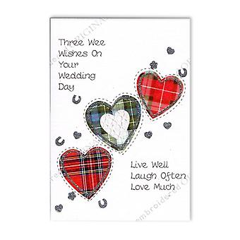 Embroidered Originals Three Tartan Hearts Scottish Wedding Card