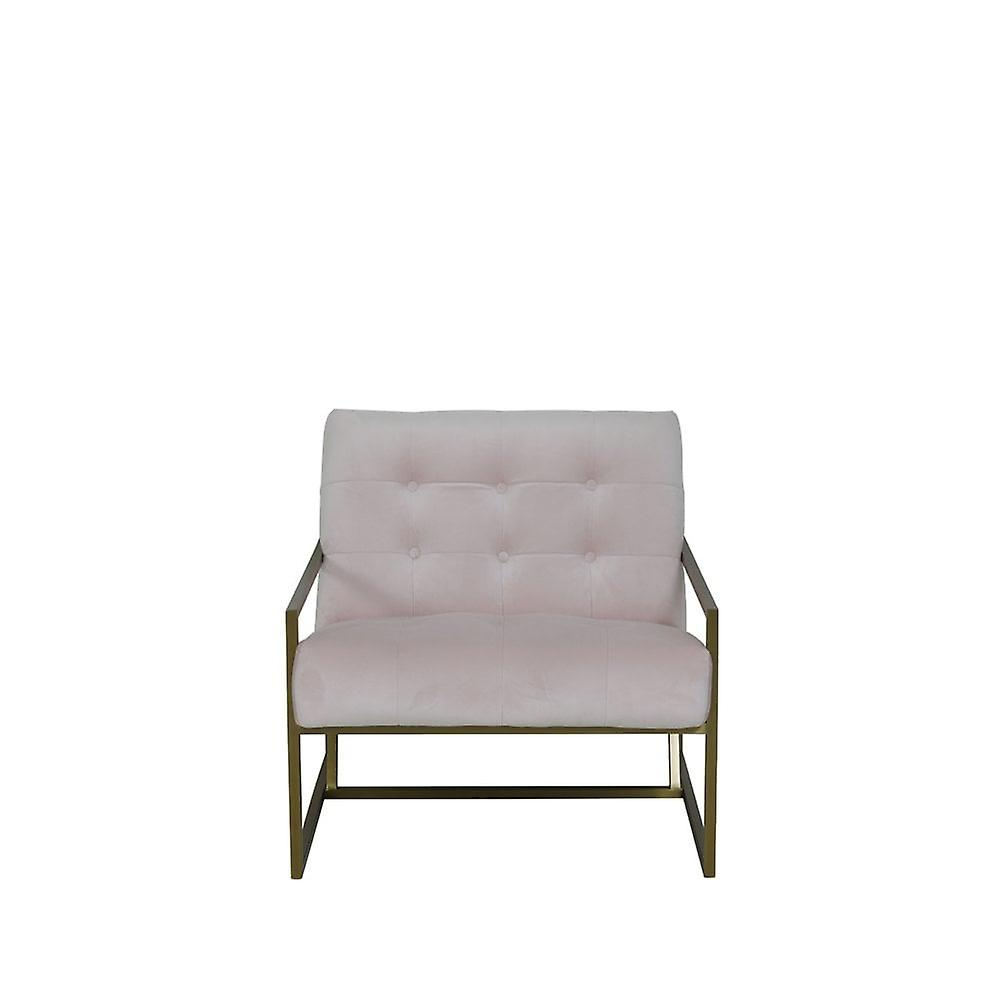 Chaise légère et vivante 71x81x70cm Geneve Velvet Light Pink And Gold